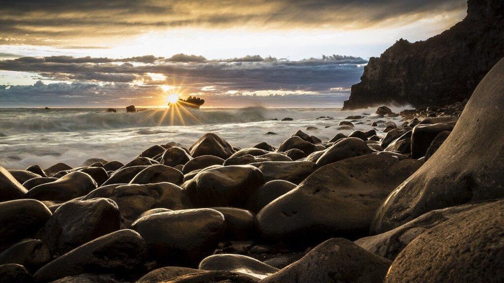 rocks, beach, sea
